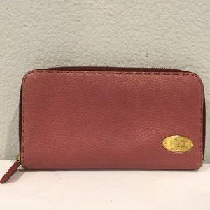 FENDI Zip Wallet in Dusty Rose Leather